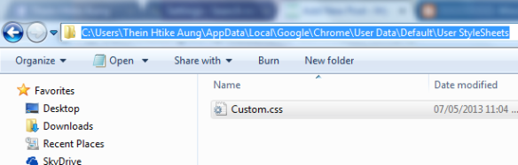 Custom.css Chrome location